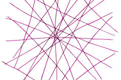 Network of lines. Network of purple colored lines drawn by felt tip pen , some fairly straight and others curved on white background Stock Photography