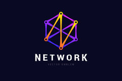 Network logo with connection lines. Stock Photos