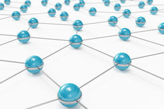 Network made out of blue balls. High quality 3D render of a network made out of blue balls Royalty Free Stock Image