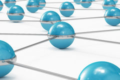 Network made out of blue balls close-up. High quality 3D render of a network made out of blue balls Stock Photos