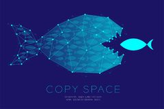 Network Marketing Online set Teamwork from shoal or school. Of small fish eat Big Fish concept idea illustration isolated on dark blue background, with copy Stock Photo