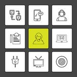 Network , mobile , chat , employee , laptop, dart , plug , clipboard ,tv, eps icons set vector. Network , mobile , chat , employee , laptop, dart , plug stock illustration