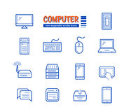 Network and mobile devices. Connected to the Internet. Non-expanded strokes vector icons. Linear style Stock Photography