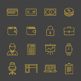 Network and mobile devices. Financial and business icon set. Outline icons - money, finance and payments. Linear style Royalty Free Stock Photography