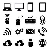 Network and mobile devices icons. Vector set collection of 16 network and mobile devices icons isolated on white background. Flat modern style elements for web Royalty Free Stock Photos