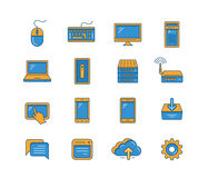 Network and mobile devices. Line icon set of network and mobile devices. Network connections. Vector icons Stock Photo