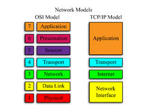 Network Models. An image of the OSI and TCP/IP network models Stock Images