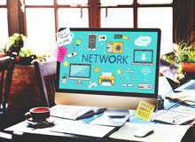 Network Networking Internet Scial Media Concept Royalty Free Stock Photos