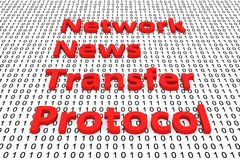 Network news transfer protocol. In the form of binary code, 3D illustration Stock Photography