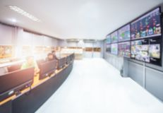 Network operations center or NOC ,monitoring room. For control devices in the manufacturing shop of power plant ,engineers working In the network monitoring lab stock photo