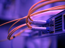 Network optical fiber cables and hub Stock Image