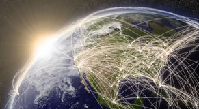 Network over North America. North America with network representing major air traffic routes. Elements of this image furnished by NASA Stock Image