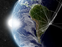 Network over South America Stock Images