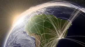 Network over South America Stock Image
