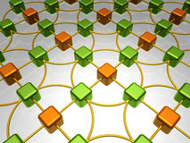 Network Overview. 3D Illustration of Network, Alternate Orange and Green Items Royalty Free Stock Photos