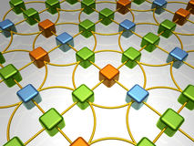 Network Overview - Chaos. 3D Illustration of Network, Three Differentiated Item Groups in Green, Blue and Orange Royalty Free Stock Photo