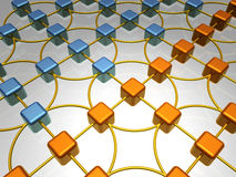 Network Overview - Order. 3D Illustration of Network, Two Different Colored Groups of Items Royalty Free Stock Photography