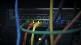 Network panel with tangled network cords stock video