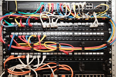 Network panel, switch and cable Stock Image