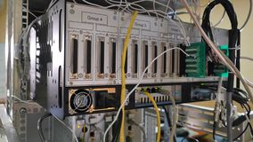 Network panel, switch and cable in data center Stock Images