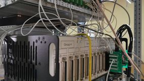Network panel, switch and cable in data center Royalty Free Stock Photography