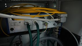Network panel, switch and cable in data center Stock Image