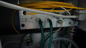 Network panel, switch and cable in data center Stock Photo