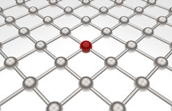 Network path array - red sphere Royalty Free Stock Photos