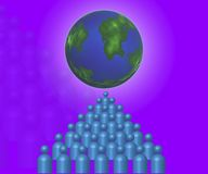 Network People. People and the earth represent network vector illustration