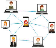 A network of people connected by technology Stock Photo