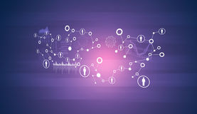 Network with people icons and graphs Royalty Free Stock Image