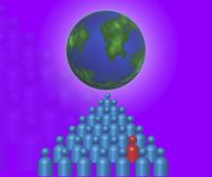 Network People With Red Follower. Many people with one red person and the earth Royalty Free Stock Photos