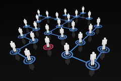 Network People - Standing Out. A 3D rendered illustration of social networks with one character standing out from the crowd Stock Photography