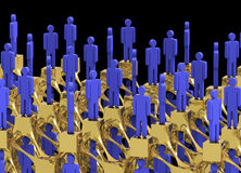 Network of people at the top. Networking of top tier people on gold assemblage with black background Royalty Free Stock Photo