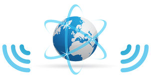Network planet blue waves. Icon of a planet, transmitting Internet, through blue waves