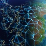 Network on planet generated texture background Stock Photo