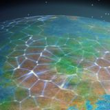 Network on planet generated texture background Royalty Free Stock Photo