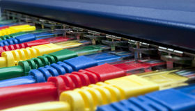 Network plugs connected to a router or switch Stock Image