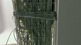 Network and power cables in internet networks stock video footage