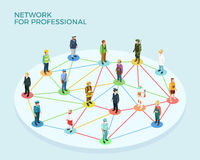 Network Professional Isometric Concept. With people of various occupations and jobs isolated vector illustration Stock Images