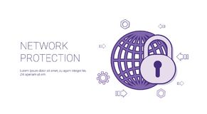 Network Protection Web Banner With Copy Space Online Security Concept stock illustration