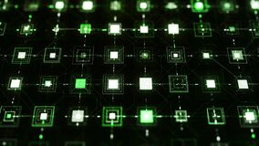 Network with pulsating squares on black background. Animation. Cyberspace with electronic network that transmits signals