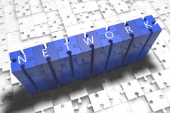 Network. Puzzle 3d render illustration with block letters on blue jigsaw pieces Stock Image