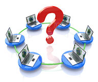 Network, and question mark Royalty Free Stock Images