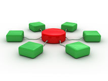 Network (red and green). Conceptual 3D image can be used as abstract background (for printing and web stock illustration
