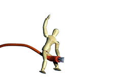 Network Rider. Mannequin riding a network cable.  Metaphor/concept for surfing the web, taming a network, etc Stock Photo