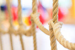 Network of ropes in indoor children's playground Royalty Free Stock Photo