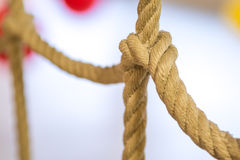 Network of ropes in indoor children's playground Royalty Free Stock Images
