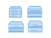 Network router icon set Stock Photography