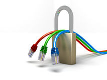 Network safety. 3 network cable going though a padlock Royalty Free Stock Photo